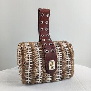 Vintage British Hong Kong basket weave clutch